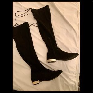 Over-the-knee black faux suede boots